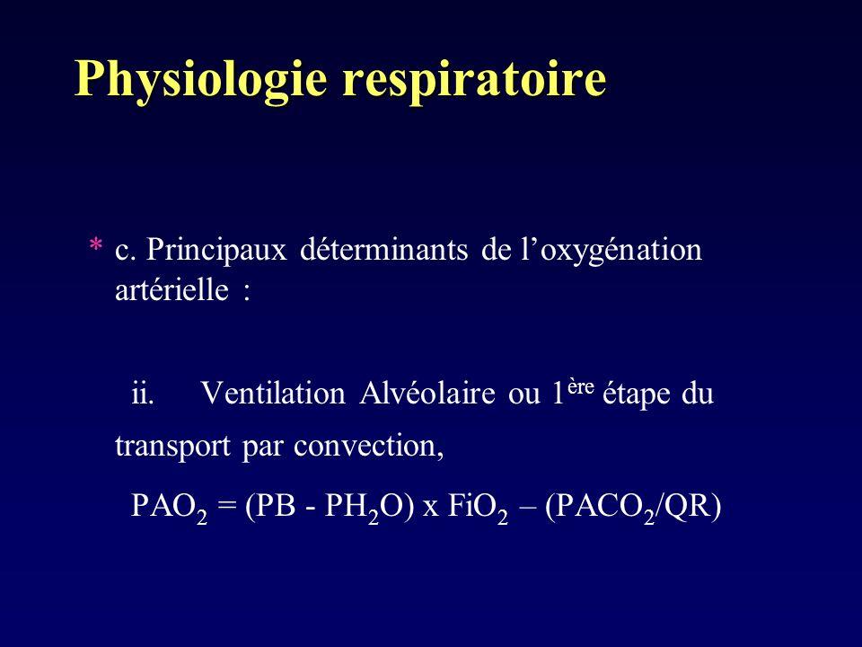 Physiologie respiratoire *c. Principaux déterminants de loxygénation artérielle : ii. Ventilation Alvéolaire ou 1 ère étape du transport par convectio