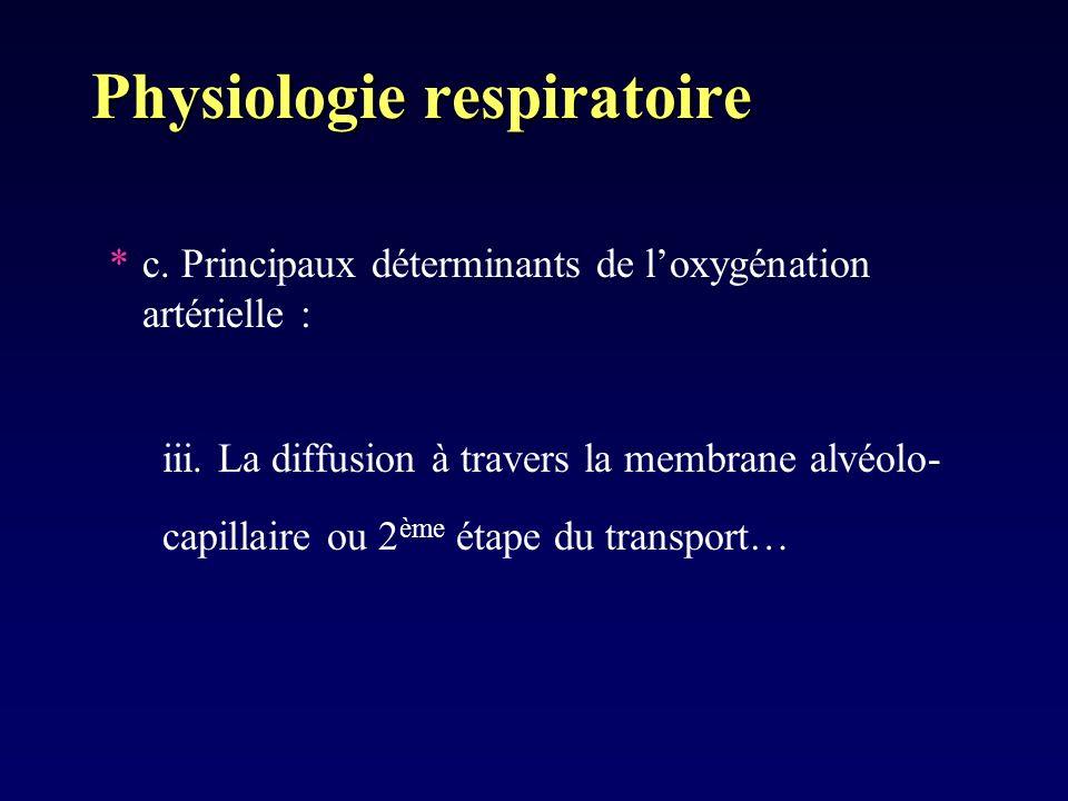 Physiologie respiratoire *c. Principaux déterminants de loxygénation artérielle : iii. La diffusion à travers la membrane alvéolo- capillaire ou 2 ème