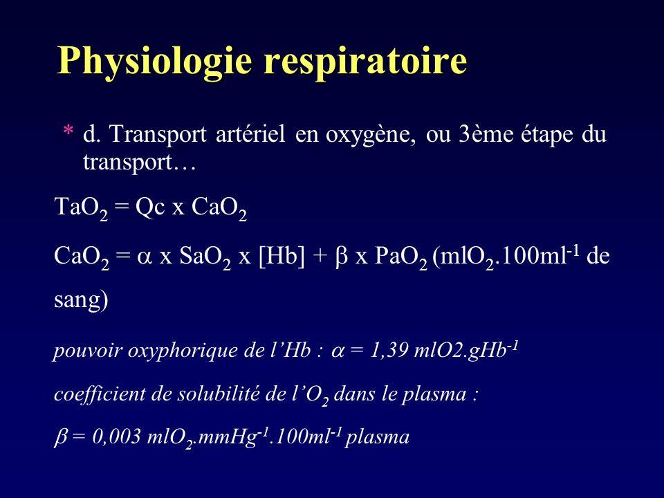 Physiologie respiratoire *d. Transport artériel en oxygène, ou 3ème étape du transport… TaO 2 = Qc x CaO 2 CaO 2 = x SaO 2 x [Hb] + x PaO 2 (mlO 2.100