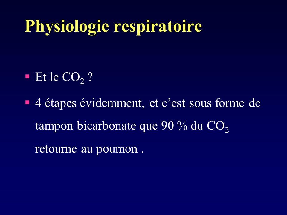 Physiologie respiratoire Et le CO 2 ? 4 étapes évidemment, et cest sous forme de tampon bicarbonate que 90 % du CO 2 retourne au poumon.