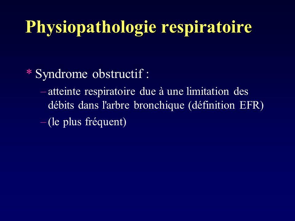Physiopathologie respiratoire *Syndrome obstructif : –atteinte respiratoire due à une limitation des débits dans l'arbre bronchique (définition EFR) –