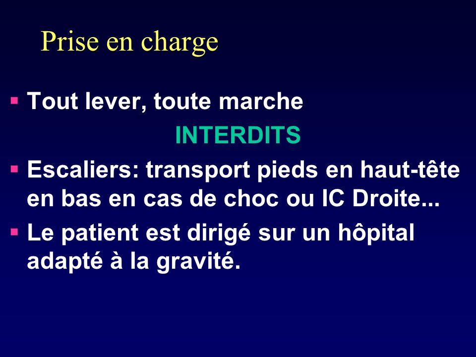 Prise en charge Tout lever, toute marche INTERDITS Escaliers: transport pieds en haut-tête en bas en cas de choc ou IC Droite... Le patient est dirigé