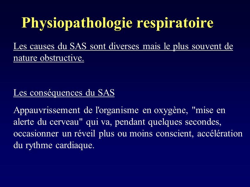 Physiopathologie respiratoire Les causes du SAS sont diverses mais le plus souvent de nature obstructive. Les conséquences du SAS Appauvrissement de l