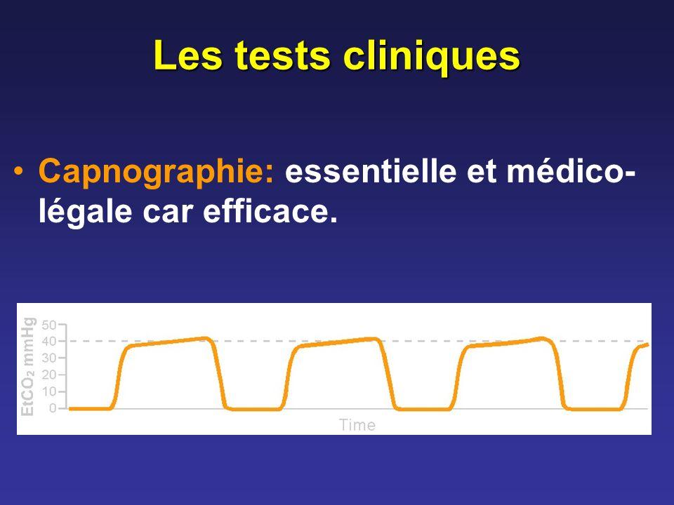 Les tests cliniques Capnographie: essentielle et médico- légale car efficace.