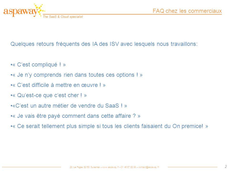 28 rue Pages 92150 Suresnes – www.aspaway.fr – 01 46 67 88 88 – contact@aspaway.fr The SaaS & Cloud specialist 3 Le Saas compliqué .