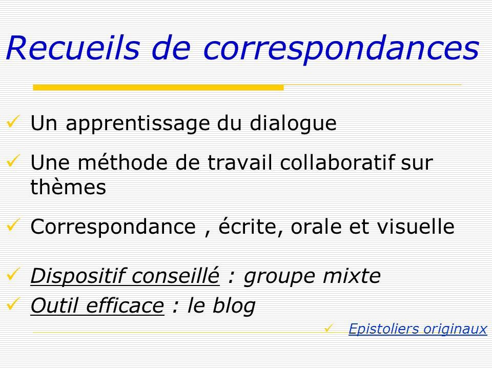 Recueils de correspondances Un apprentissage du dialogue Une méthode de travail collaboratif sur thèmes Correspondance, écrite, orale et visuelle Disp