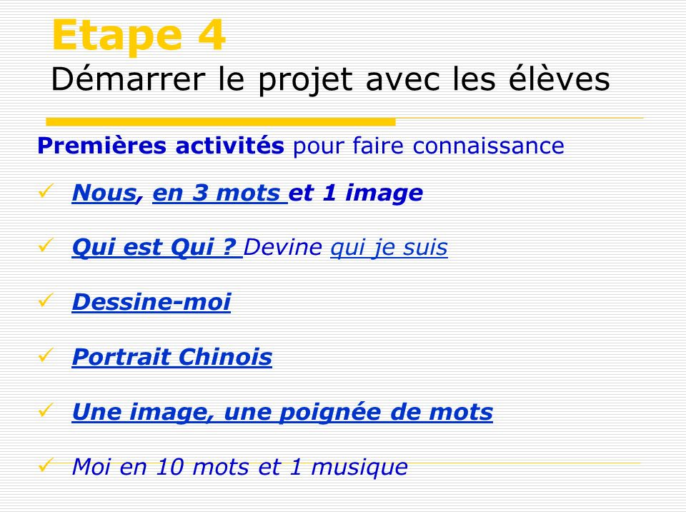 Etape 4 Démarrer le projet avec les élèves Premières activités pour faire connaissance Nous, en 3 mots et 1 image Nousen 3 mots Qui est Qui ? Devine q