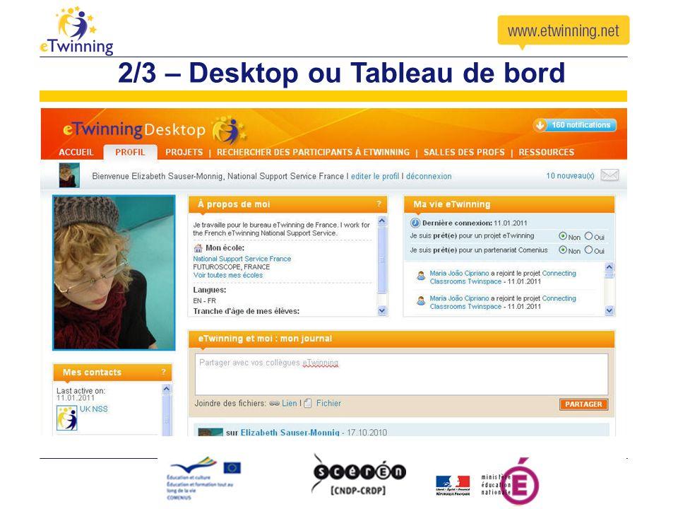 2/3 – Desktop ou Tableau de bord