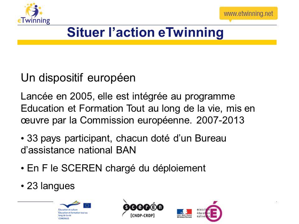 Situer laction eTwinning Un dispositif européen Lancée en 2005, elle est intégrée au programme Education et Formation Tout au long de la vie, mis en œ