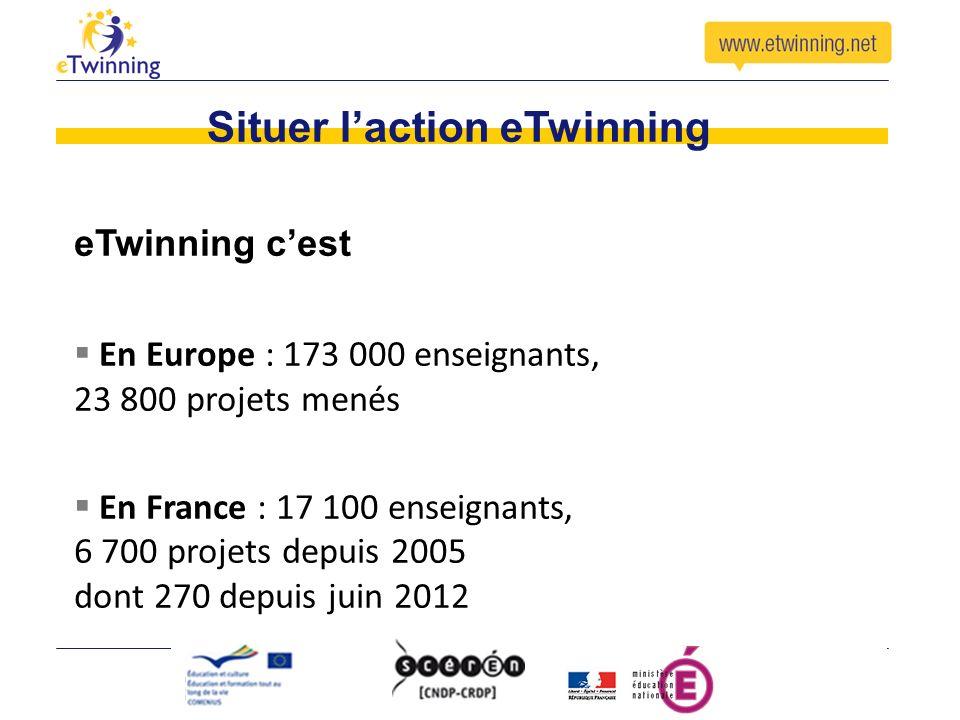 Situer laction eTwinning eTwinning cest En Europe : 173 000 enseignants, 23 800 projets menés En France : 17 100 enseignants, 6 700 projets depuis 2005 dont 270 depuis juin 2012