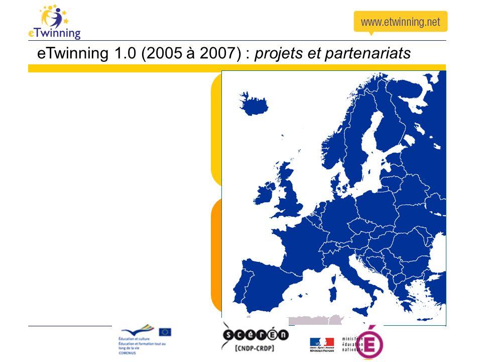 Pensé pour trouver des partenaires, créer et conduire des projets scolaires Lancé pour encourager la collaboration scolaire en Europe eTwinning 1.0 (2005 à 2007) : projets et partenariats