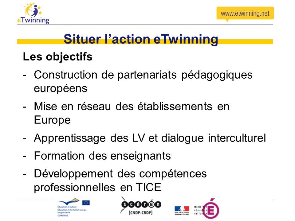 Situer laction eTwinning Les objectifs -Construction de partenariats pédagogiques européens -Mise en réseau des établissements en Europe -Apprentissage des LV et dialogue interculturel -Formation des enseignants -Développement des compétences professionnelles en TICE