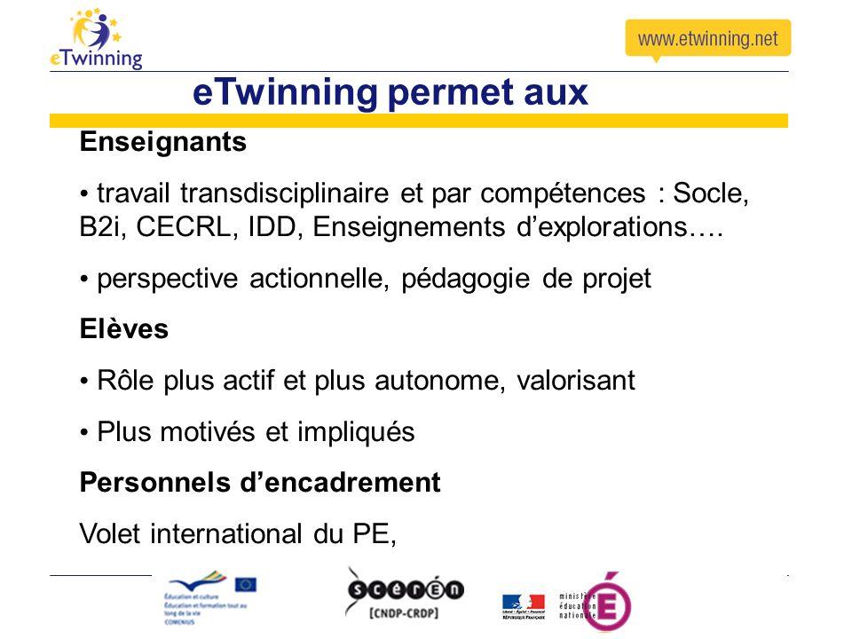 eTwinning permet aux Enseignants travail transdisciplinaire et par compétences : Socle, B2i, CECRL, IDD, Enseignements dexplorations….