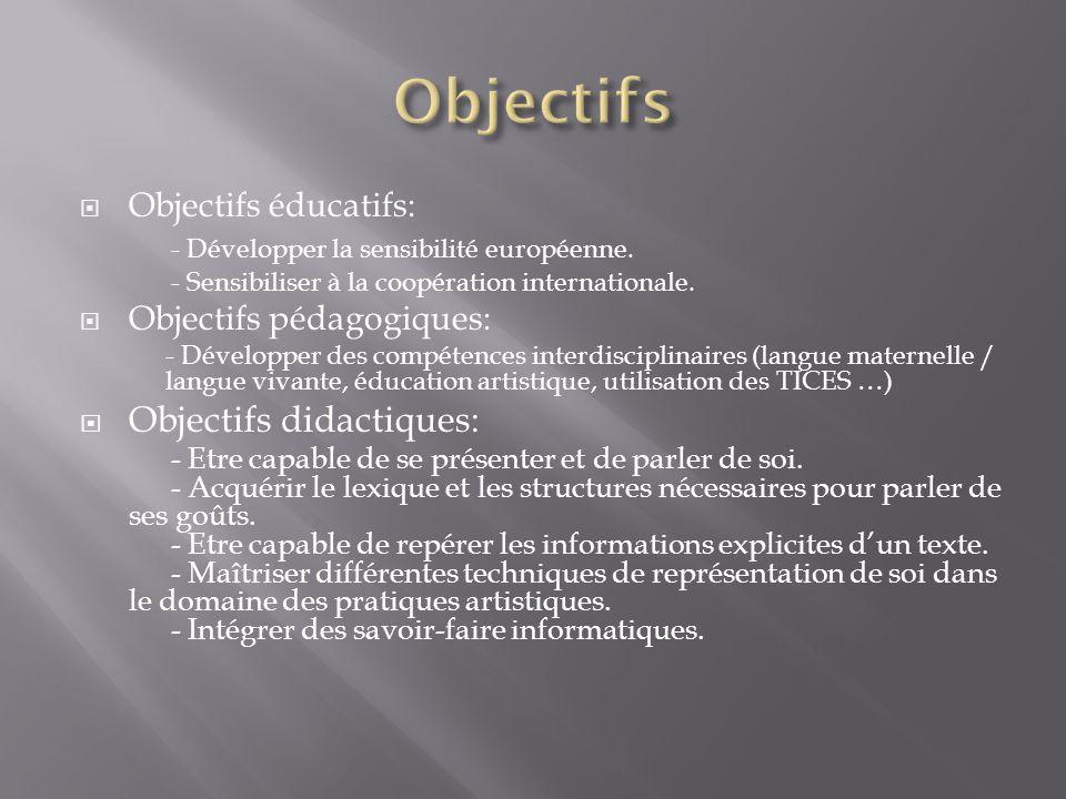 Objectifs éducatifs: - Développer la sensibilité européenne. - Sensibiliser à la coopération internationale. Objectifs pédagogiques: - Développer des