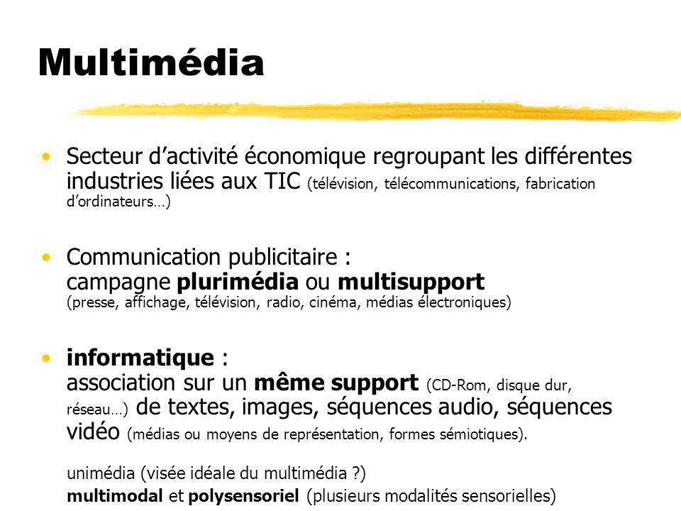 Multimédia Secteur dactivité économique regroupant les différentes industries liées aux TIC (télévision, télécommunications, fabrication dordinateurs…