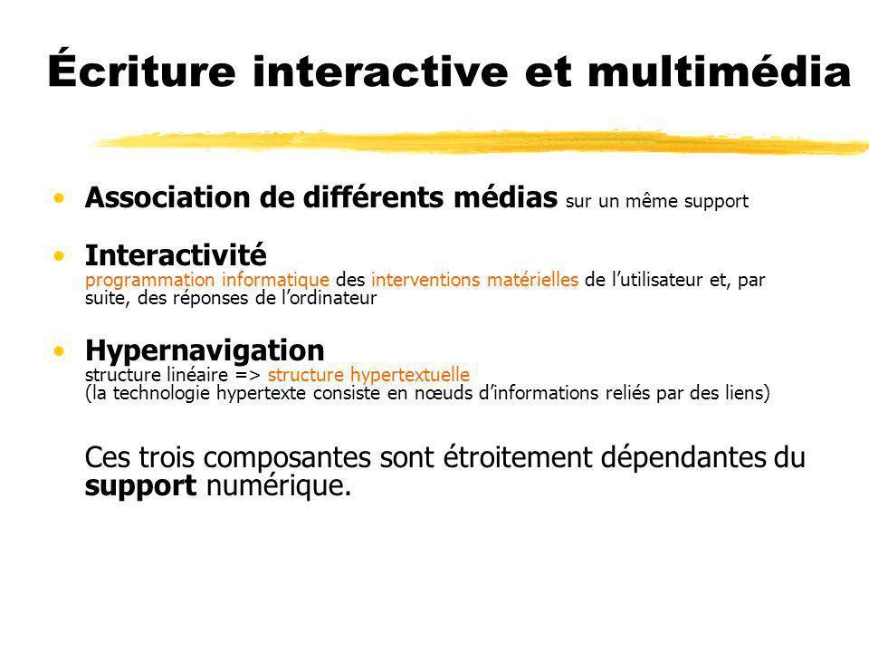 Écriture interactive et multimédia Association de différents médias sur un même support Interactivité programmation informatique des interventions mat