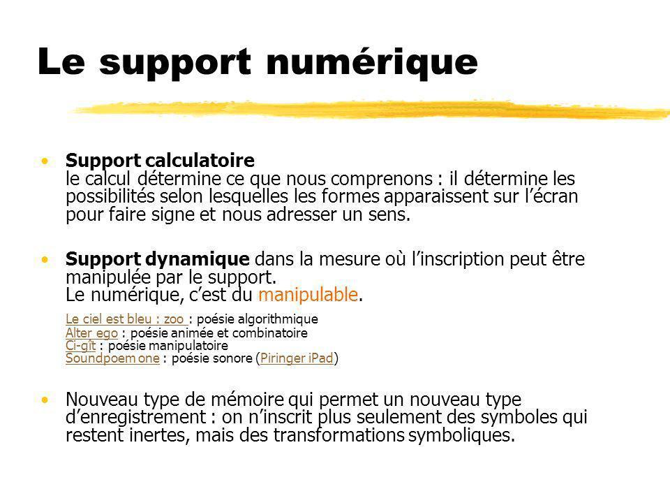 Le support numérique Support calculatoire le calcul détermine ce que nous comprenons : il détermine les possibilités selon lesquelles les formes appar