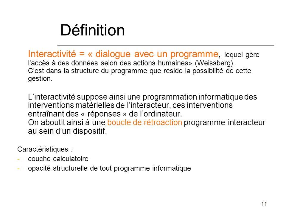 11 Interactivité = « dialogue avec un programme, lequel gère laccès à des données selon des actions humaines» (Weissberg). Cest dans la structure du p