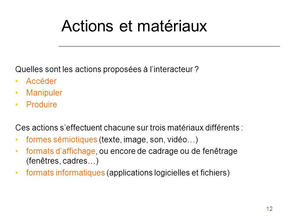 12 Quelles sont les actions proposées à linteracteur ? Accéder Manipuler Produire Ces actions seffectuent chacune sur trois matériaux différents : for