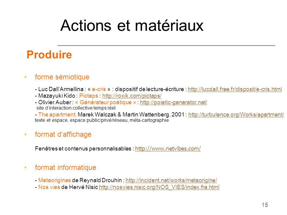 15 Produire forme sémiotique - Luc DallArmellina : « e-cris » : dispositif de lecture-écriture : http://lucdall.free.fr/disposit/e-cris.htmlhttp://luc