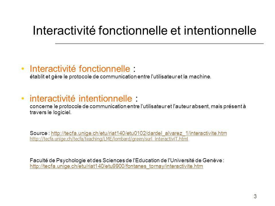 3 Interactivité fonctionnelle et intentionnelle Interactivité fonctionnelle : établit et gère le protocole de communication entre l'utilisateur et la