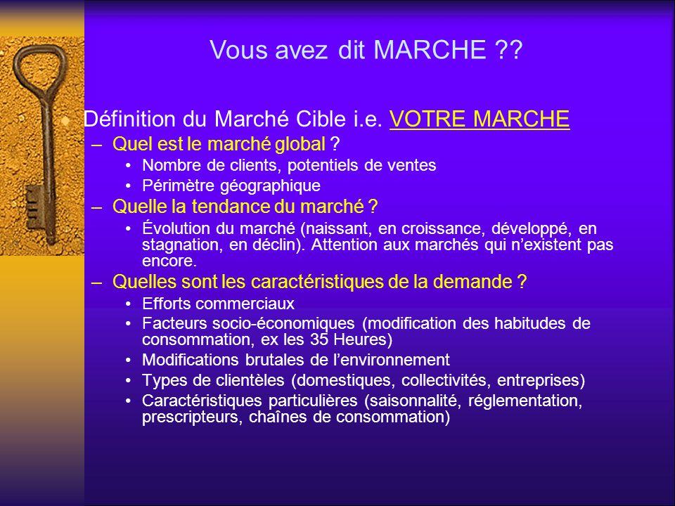 Définition du Marché Cible i.e. VOTRE MARCHE –Quel est le marché global ? Nombre de clients, potentiels de ventes Périmètre géographique –Quelle la te