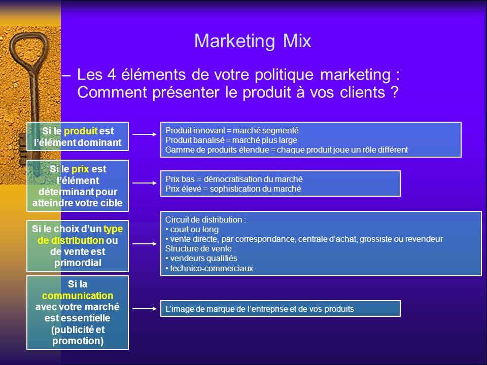 Marketing Mix –Les 4 éléments de votre politique marketing : Comment présenter le produit à vos clients ? Si le produit est lélément dominant Si le pr
