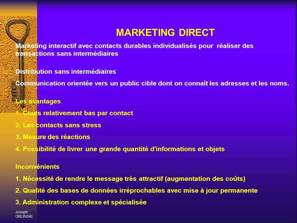 Joseph ORLINSKI MARKETING DIRECT Marketing interactif avec contacts durables individualisés pour réaliser des transactions sans intermédiaires Distrib