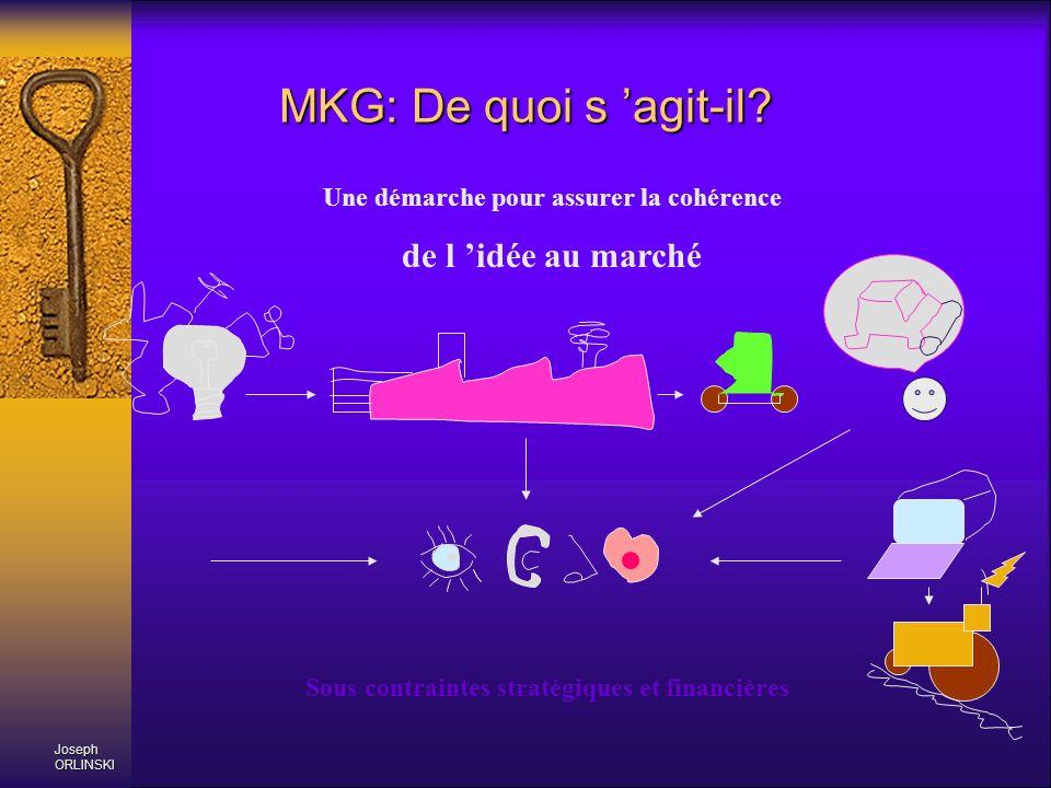 MKG: De quoi s agit-il? Une démarche pour assurer la cohérence de l idée au marché Sous contraintes stratégiques et financières Joseph ORLINSKI