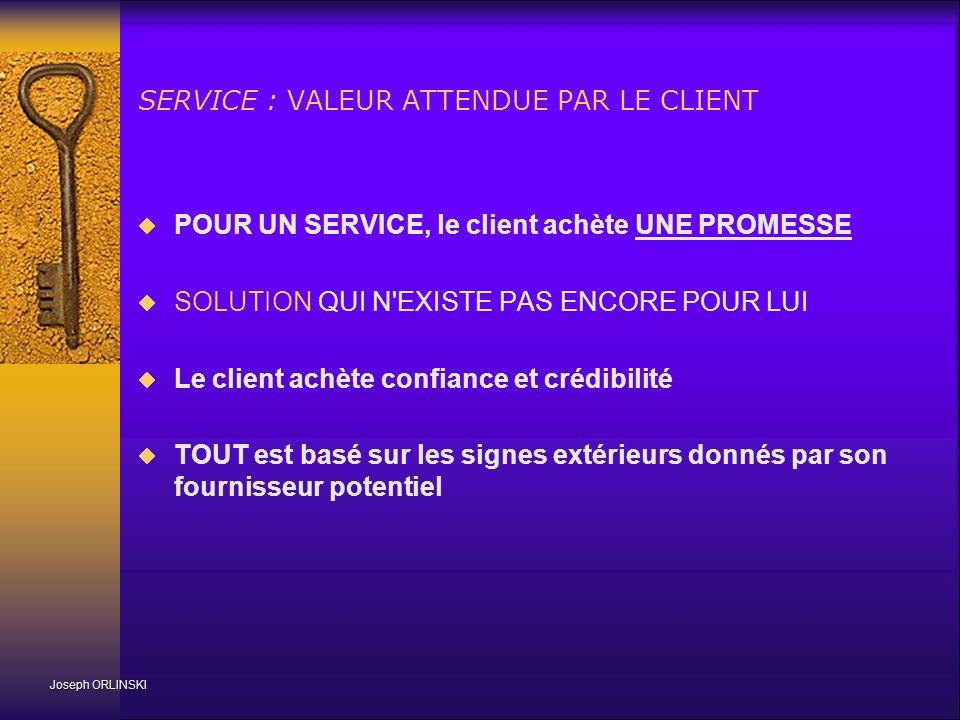 SERVICE : VALEUR ATTENDUE PAR LE CLIENT POUR UN SERVICE, le client achète UNE PROMESSE SOLUTION QUI N'EXISTE PAS ENCORE POUR LUI Le client achète conf