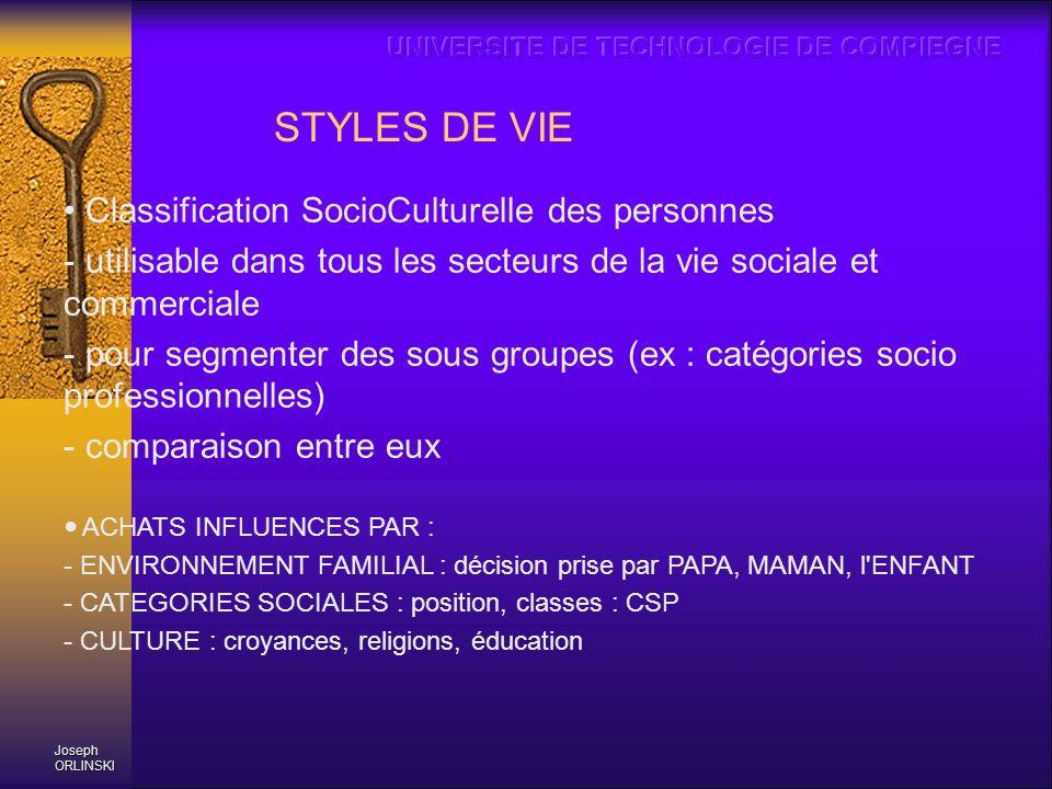 Joseph ORLINSKI STYLES DE VIE Classification SocioCulturelle des personnes - utilisable dans tous les secteurs de la vie sociale et commerciale - pour
