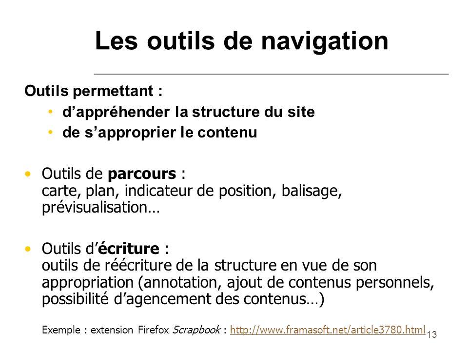 13 Les outils de navigation Outils permettant : dappréhender la structure du site de sapproprier le contenu Outils de parcours : carte, plan, indicate