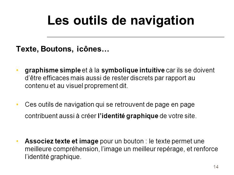 14 Texte, Boutons, icônes… graphisme simple et à la symbolique intuitive car ils se doivent dêtre efficaces mais aussi de rester discrets par rapport