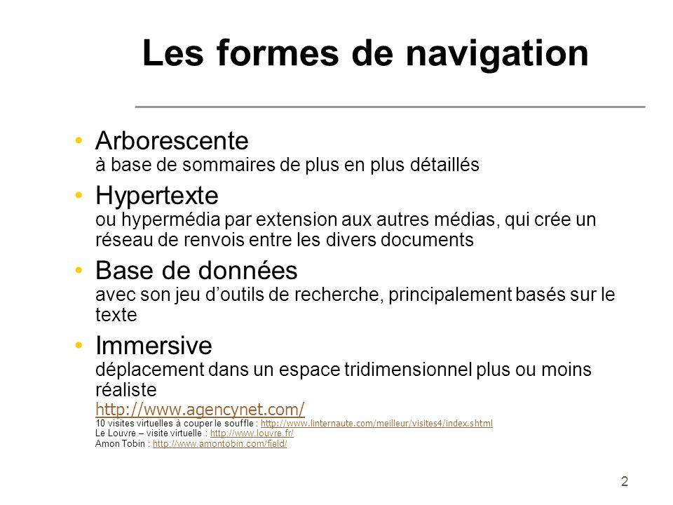 2 Les formes de navigation Arborescente à base de sommaires de plus en plus détaillés Hypertexte ou hypermédia par extension aux autres médias, qui cr