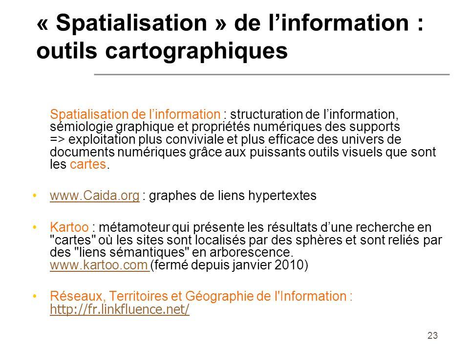 23 Spatialisation de linformation : structuration de linformation, sémiologie graphique et propriétés numériques des supports => exploitation plus con
