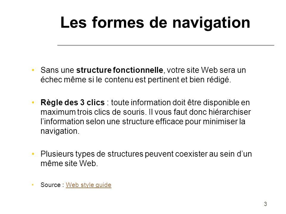 3 Les formes de navigation Sans une structure fonctionnelle, votre site Web sera un échec même si le contenu est pertinent et bien rédigé. Règle des 3