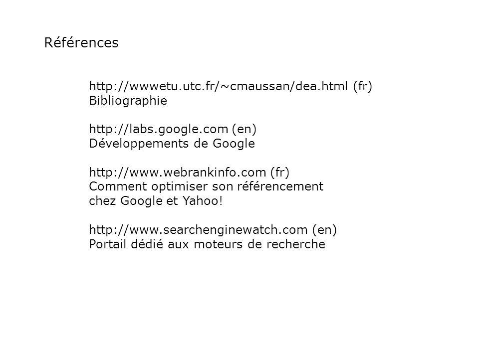 Références http://wwwetu.utc.fr/~cmaussan/dea.html (fr) Bibliographie http://labs.google.com (en) Développements de Google http://www.webrankinfo.com