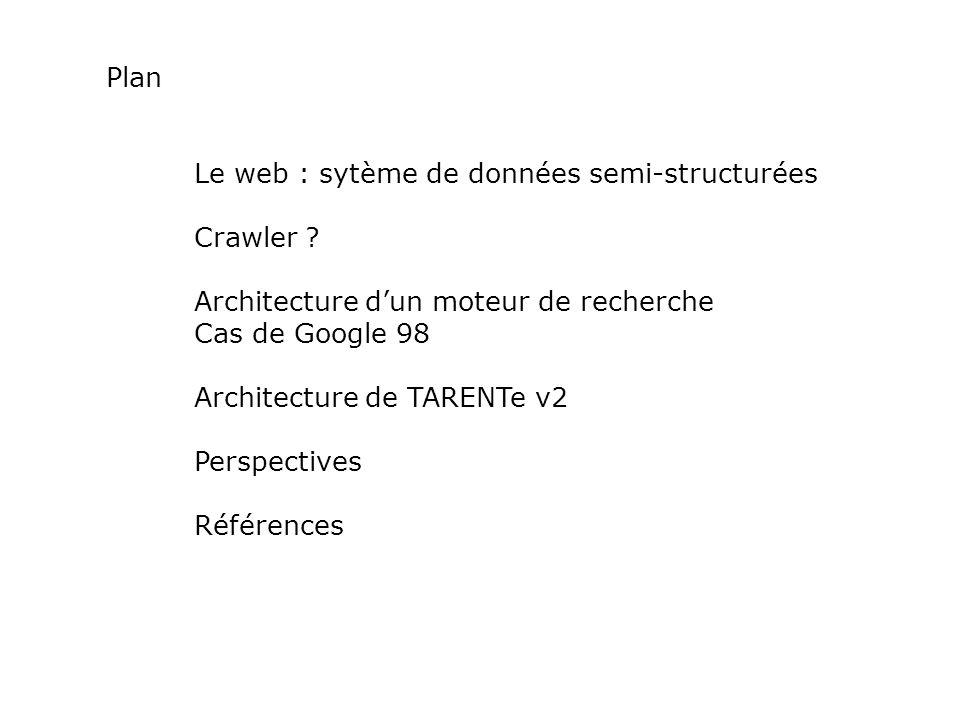 Plan Le web : sytème de données semi-structurées Crawler ? Architecture dun moteur de recherche Cas de Google 98 Architecture de TARENTe v2 Perspectiv