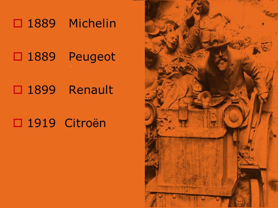 1889 Michelin 1889 Peugeot 1899 Renault 1919 Citro ë n