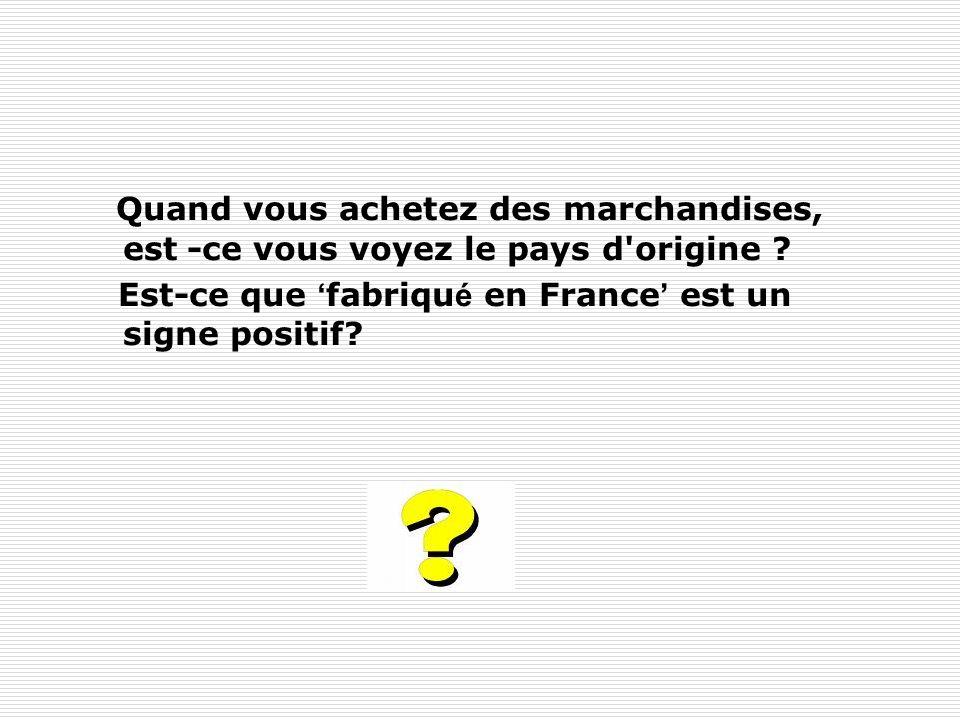 Quand vous achetez des marchandises, est -ce vous voyez le pays d'origine ? Est-ce que fabriqu é en France est un signe positif?