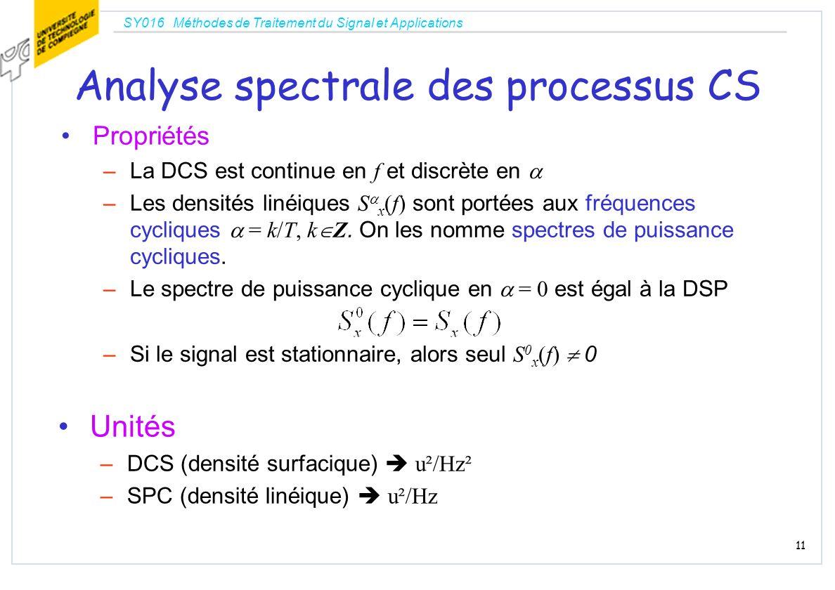 SY016 Méthodes de Traitement du Signal et Applications 11 Analyse spectrale des processus CS Propriétés –La DCS est continue en f et discrète en –Les