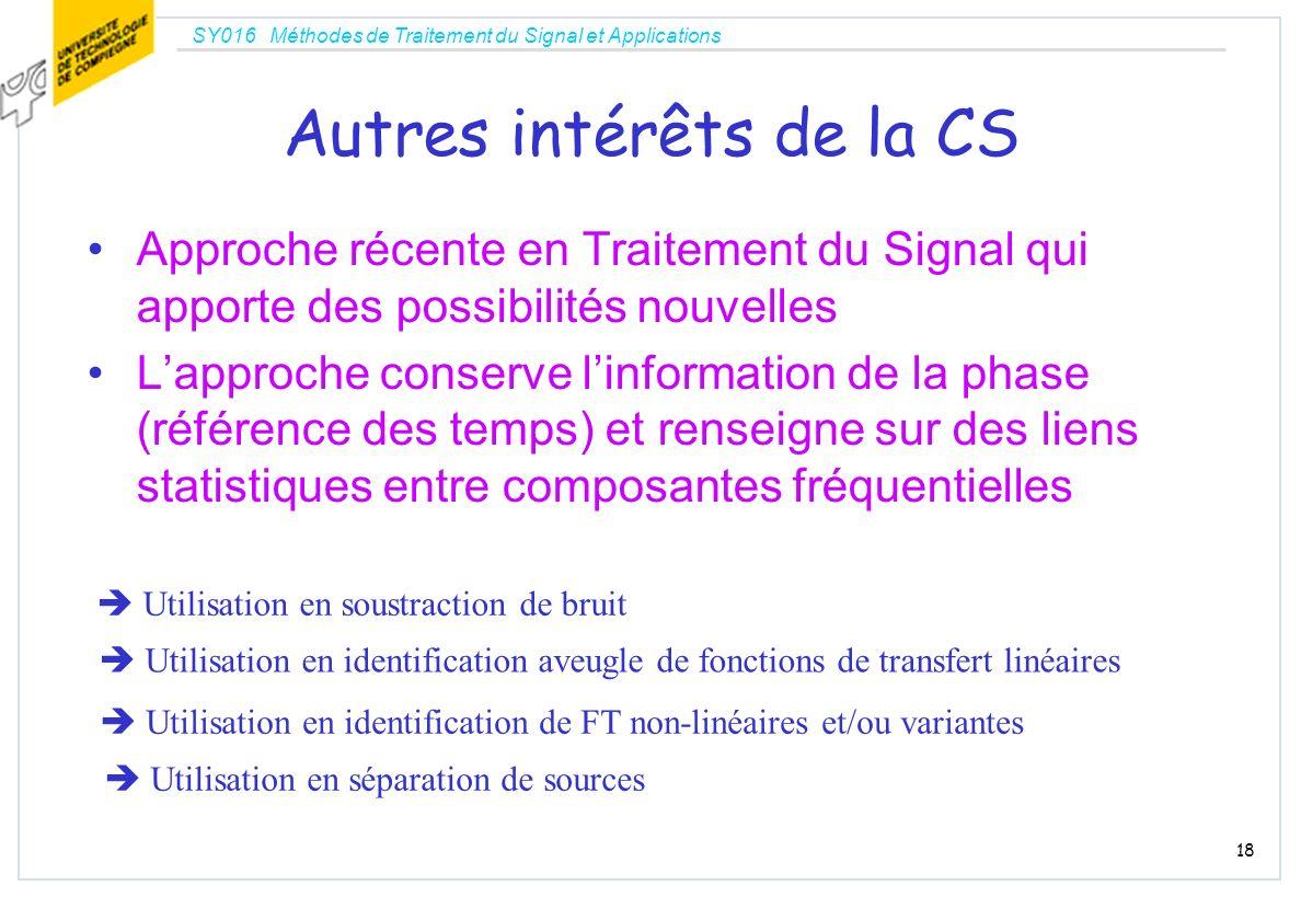 SY016 Méthodes de Traitement du Signal et Applications 18 Autres intérêts de la CS Approche récente en Traitement du Signal qui apporte des possibilit