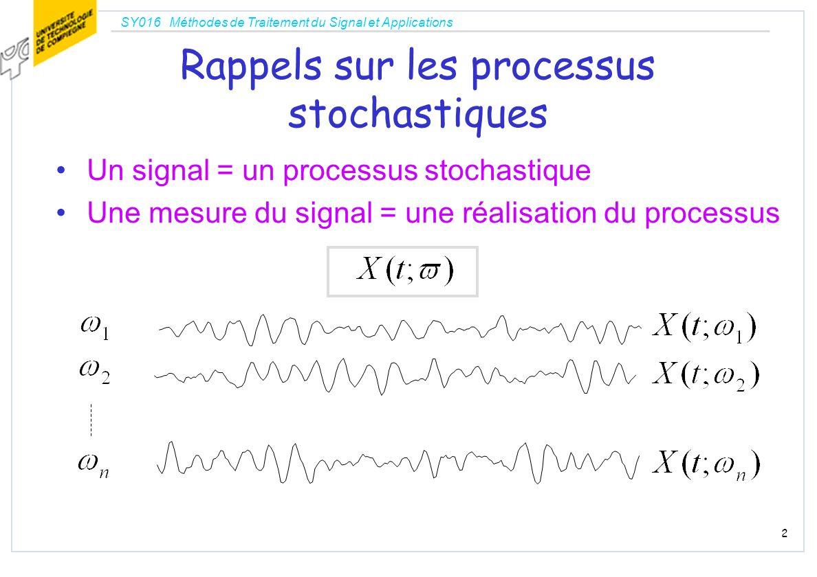 SY016 Méthodes de Traitement du Signal et Applications 2 Rappels sur les processus stochastiques Un signal = un processus stochastique Une mesure du s