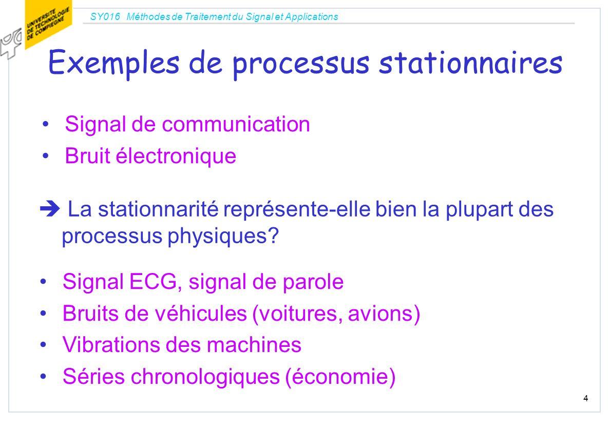 SY016 Méthodes de Traitement du Signal et Applications 4 Exemples de processus stationnaires Signal de communication Bruit électronique La stationnari