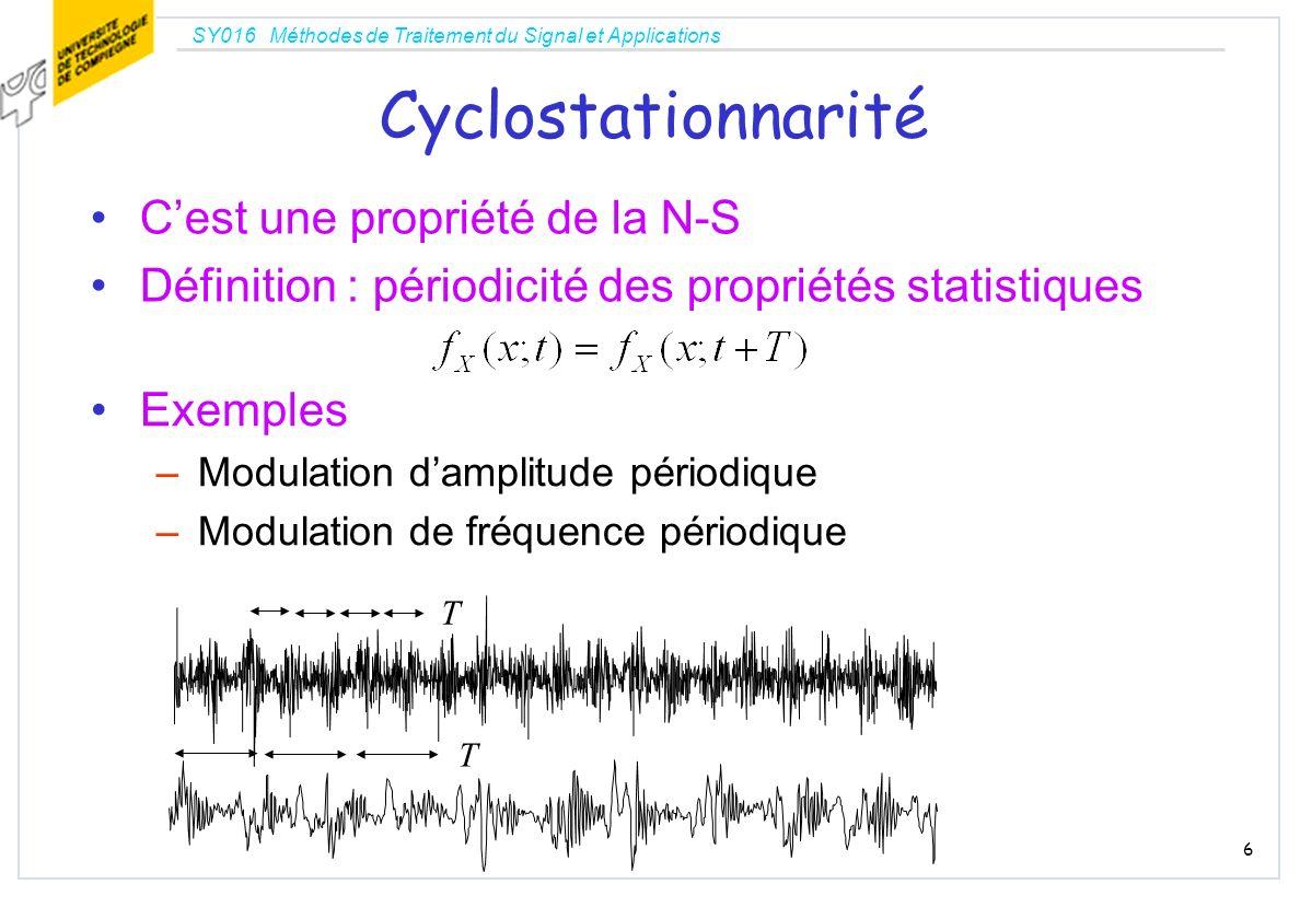 SY016 Méthodes de Traitement du Signal et Applications 6 Cyclostationnarité Cest une propriété de la N-S Définition : périodicité des propriétés stati