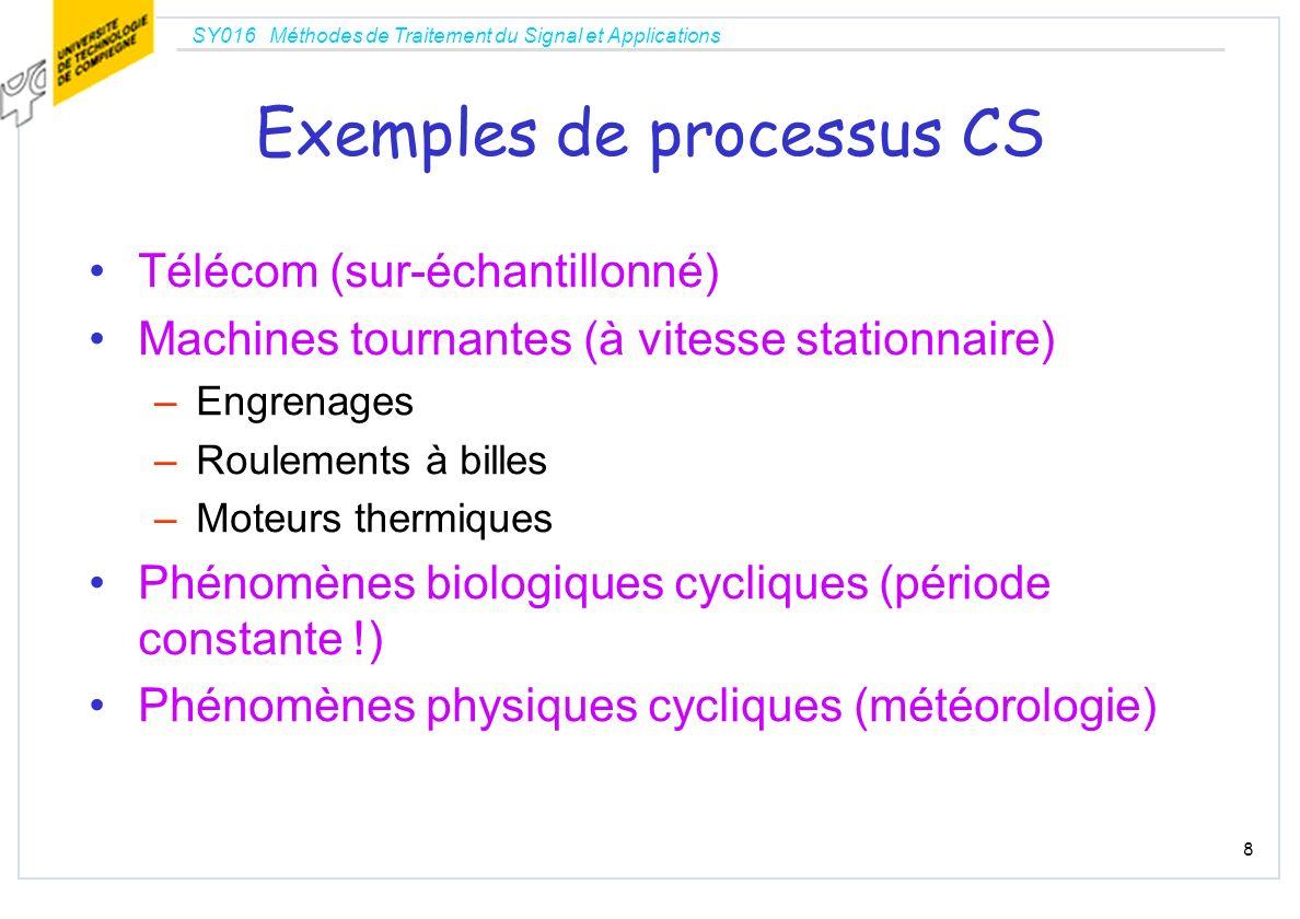 SY016 Méthodes de Traitement du Signal et Applications 8 Exemples de processus CS Télécom (sur-échantillonné) Machines tournantes (à vitesse stationna