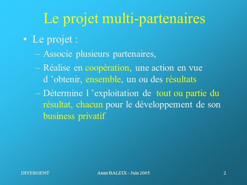 DIVERGENTAnne BALEIX - Juin 20052 Le projet multi-partenaires Le projet : –Associe plusieurs partenaires, –Réalise en coopération, une action en vue d