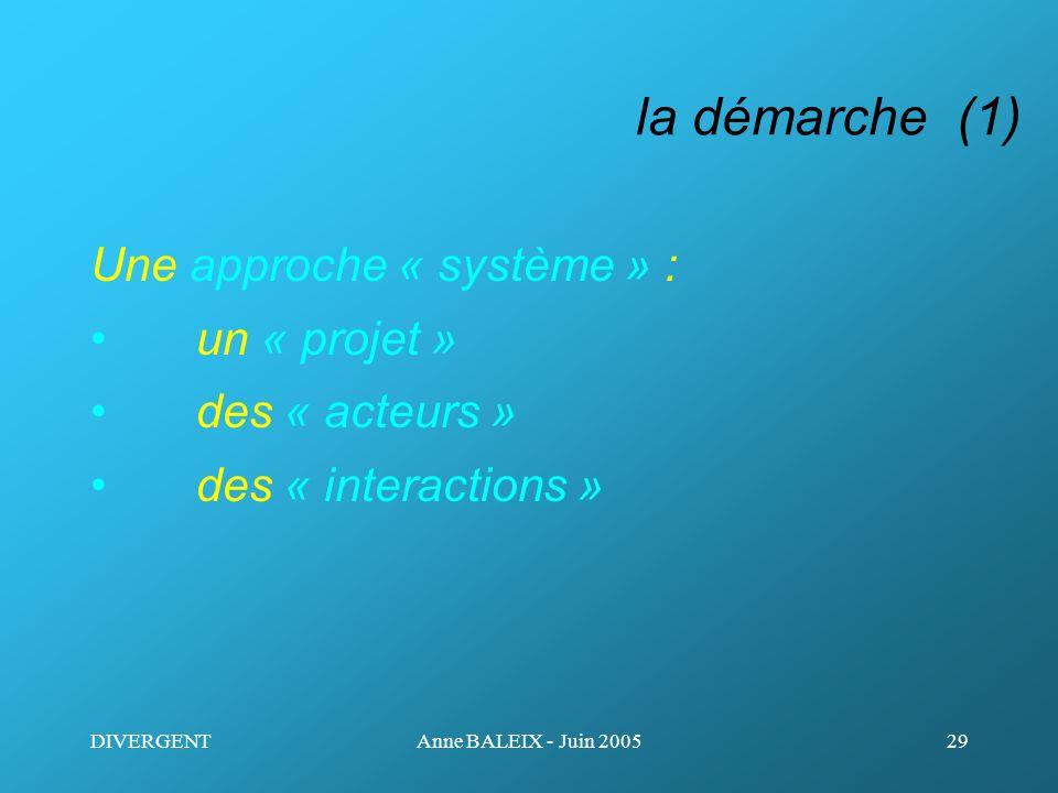 DIVERGENTAnne BALEIX - Juin 200529 la démarche (1) Une approche « système » : un « projet » des « acteurs » des « interactions »