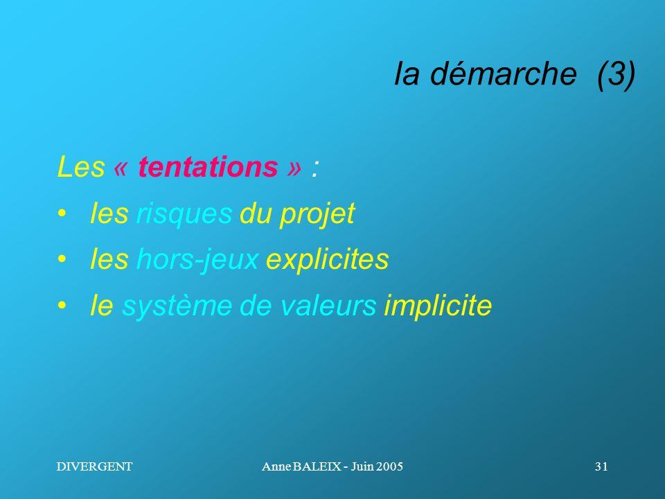 DIVERGENTAnne BALEIX - Juin 200531 la démarche (3) Les « tentations » : les risques du projet les hors-jeux explicites le système de valeurs implicite