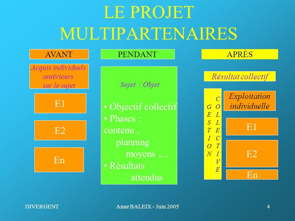 DIVERGENTAnne BALEIX - Juin 20054 LE PROJET MULTIPARTENAIRES E1 Sujet / Objet Objectif collectif Phases : contenu, planning moyens,... Résultats atten